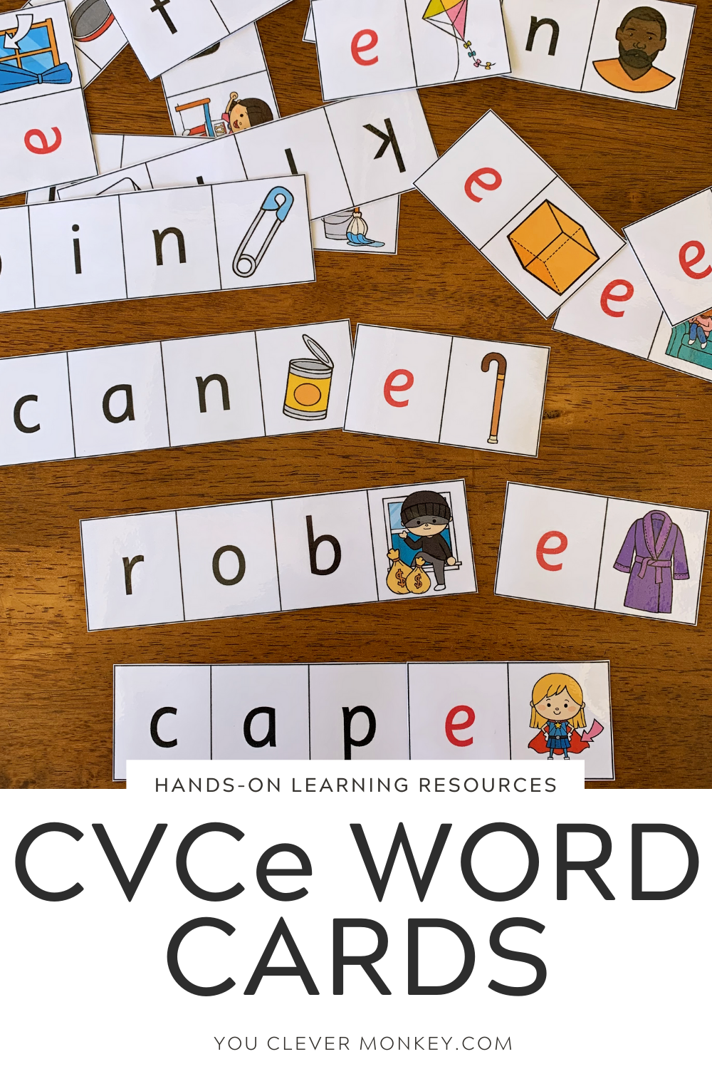 CVC to CVCe Word Cards - Learning the different vowel sounds can be challenging for many young learners. These CVC to CVCe Word cards provide helpful visual support for children struggling with the change in vowel sounds from short to long to create CVCe words from CVC words. Answer cards and recording sheets have been included to allow children to work independently | you clever monkey