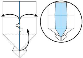 Bước 12: Từ vị trí mũi tên trắng mở giấy ra