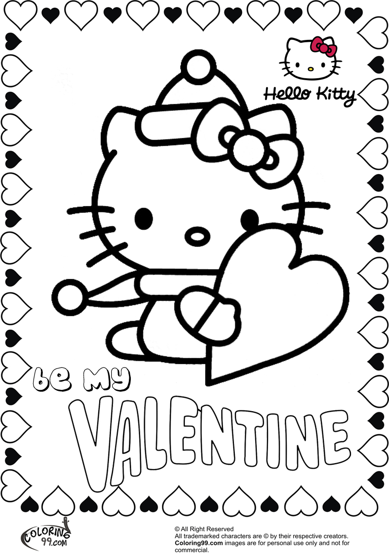 Hello kitty valentine coloring pages team colors for Be my valentine coloring pages