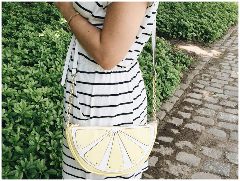 fashion, summer outfit, h&m striped dress, accessorize lemon bag