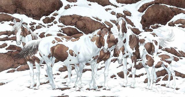 Bev Doolittle art, a winter horses illusion