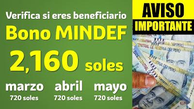 Quienes serán los beneficiarios del Bono MINDEF y cuándo se pagará?