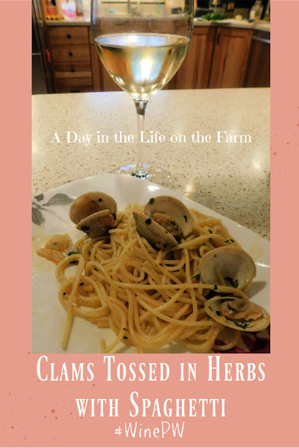 Clams Tossed in Herbs and Spaghetti pin