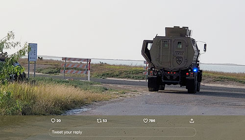 Yep, that vehicle blocking the road to SpaceX launch site means business (Source: @BocaChicaMary)