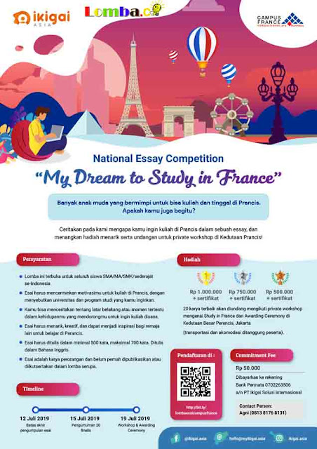 Lomba Esai Nasional Campus France & Ikigai Asia 2019 Untuk SMA Sederajat