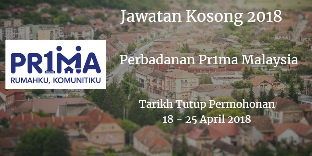 Jawatan Kosong Perbadanan Pr1ma Malaysia 18 - 25 April 2018