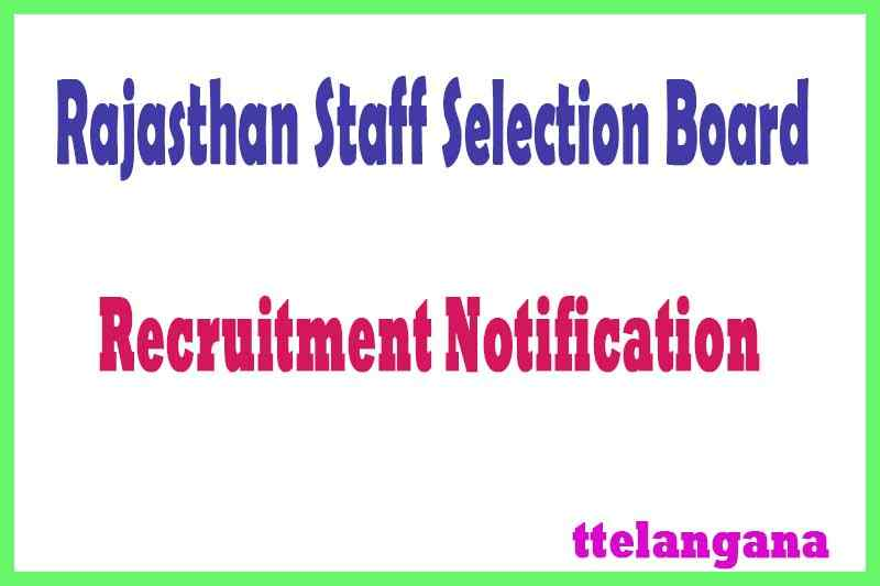 Rajasthan Staff Selection Board RSSB Recruitment Notification