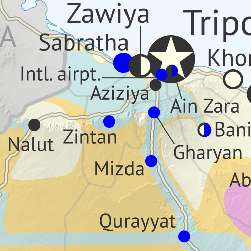Libya: Who controls what? A concise, professional map of of who controls Libya now (June 2019). Shows detailed territorial control in the Libyan Civil War as of June 4, 2019, including all major parties (Government of National Accord (GNA); Tobruk House of Representatives, General Haftar's Libyan National Army (LNA), and allies; Tuareg and Toubou (Tebu, Tubu) militias in the south; the so-called Islamic State (ISIS/ISIL); and other groups such as the National Salvation Government (NSG) and religious hardline fighters). Includes terrain, major roads, and recent locations of interest including Aziziyah, Ain Zara, Tripoli International Airport, and more. Colorblind accessible.