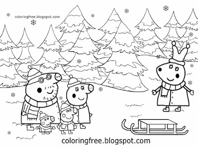 Xmas shop buying trees frozen forest drawing rabbit Peppa pig Christmas coloring page for playgroups
