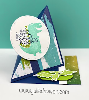 This or That? Stampin' Up! Dino Days Diagonal Easel Cards + VIDEO Tutorial ~ www.juliedavison.com #stampinup