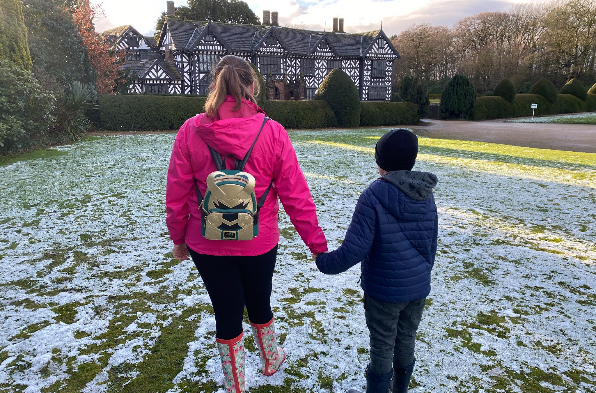 mum and son walking