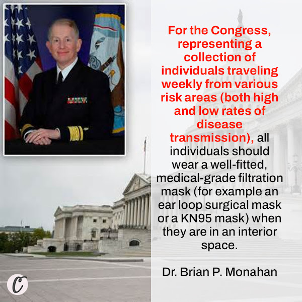 For the Congress, representing a collection of individuals traveling weekly from various risk areas (both high and low rates of disease transmission), all individuals should wear a well-fitted, medical-grade filtration mask (for example an ear loop surgical mask or a KN95 mask) when they are in an interior space. — Dr. Brian P. Monahan, Congress's top doctor