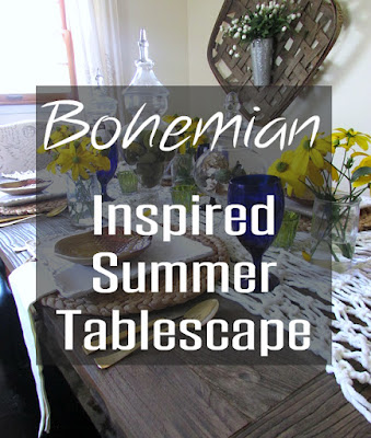Bohemian Tablescape with macrame table runner