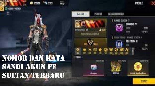 Nomor dan Kata Sandi Akun FF sultan