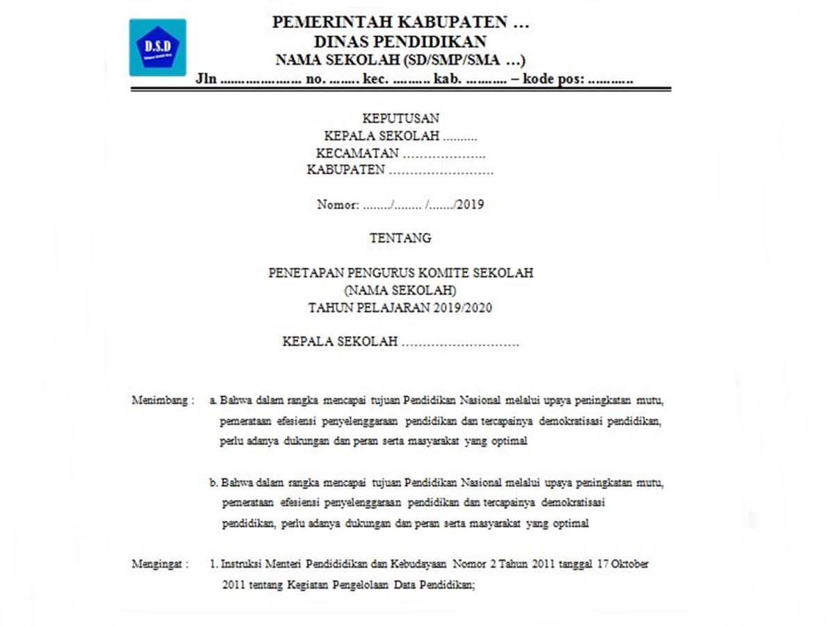 Contoh SK Komite Sekolah (SD-SMP-SMA)