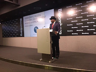 Goodluck Jonathan delivering a speech at Bloomberg