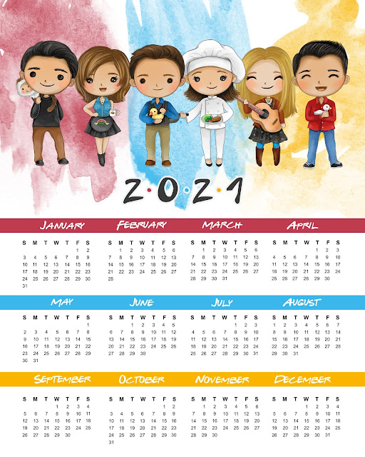 Calendario 2021 de Friends para Imprimir Gratis.