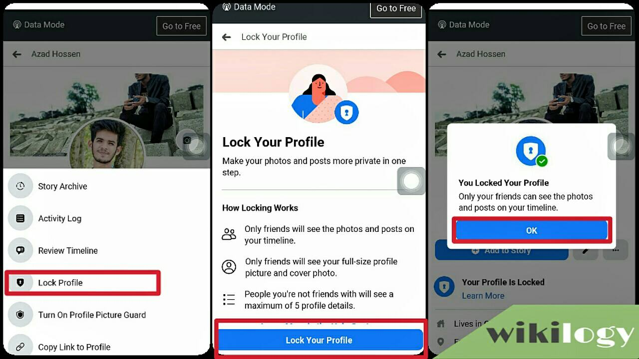 How to lock fb profile