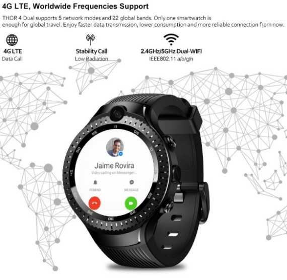 SmartWatch Phone Zeblaze THOR 4G Dual camera video call Google Play android7 BT4 quard core