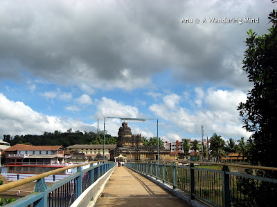 Vidyashankara temple from bridge over Tunga, Sringeri in Karnataka