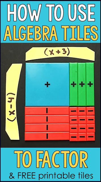 This post has 4 examples with lots of pictures for how to use algebra tiles to factor quadratic trinomials. Includes a link to a free printable set of algebra tiles in pdf format. Algebra tiles make factoring visual and can be used to make factoring quadratic trinomials visual, hands-on and intuitive.
