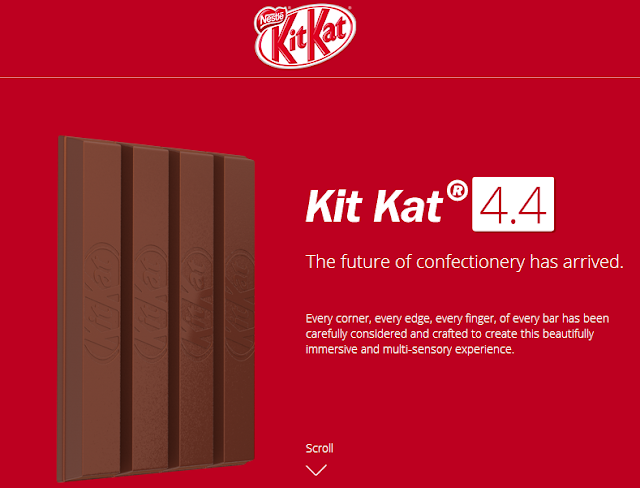 Unique scrollable web adverts from Google for Android 4.4 KitKat and Hershey for KitKat candy bar