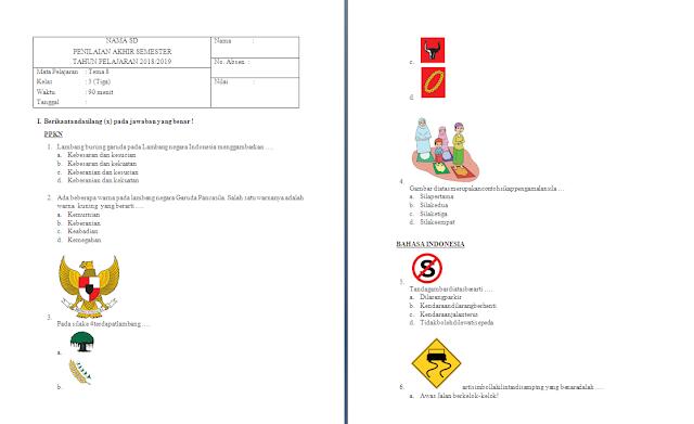 Soal PAS Kelas 3 SD/MI: Tema 8