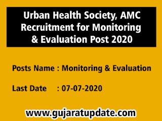 Urban Health Society, AMC Recruitment for Monitoring & Evaluation Post 2020