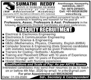 Sumathi Reddy Institute of Technology For Women jobs