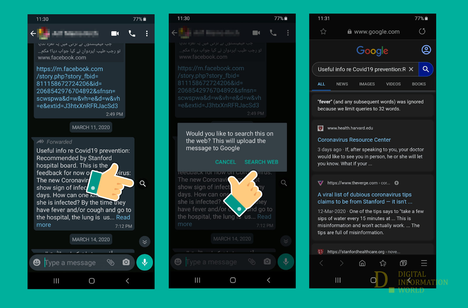 Unsure whether the message your received is factually correct or fake? Thankfully, Whatsapp is here to help. A new feature will let you search the content of forwarded messages in Google search to help you further distilled down your research.