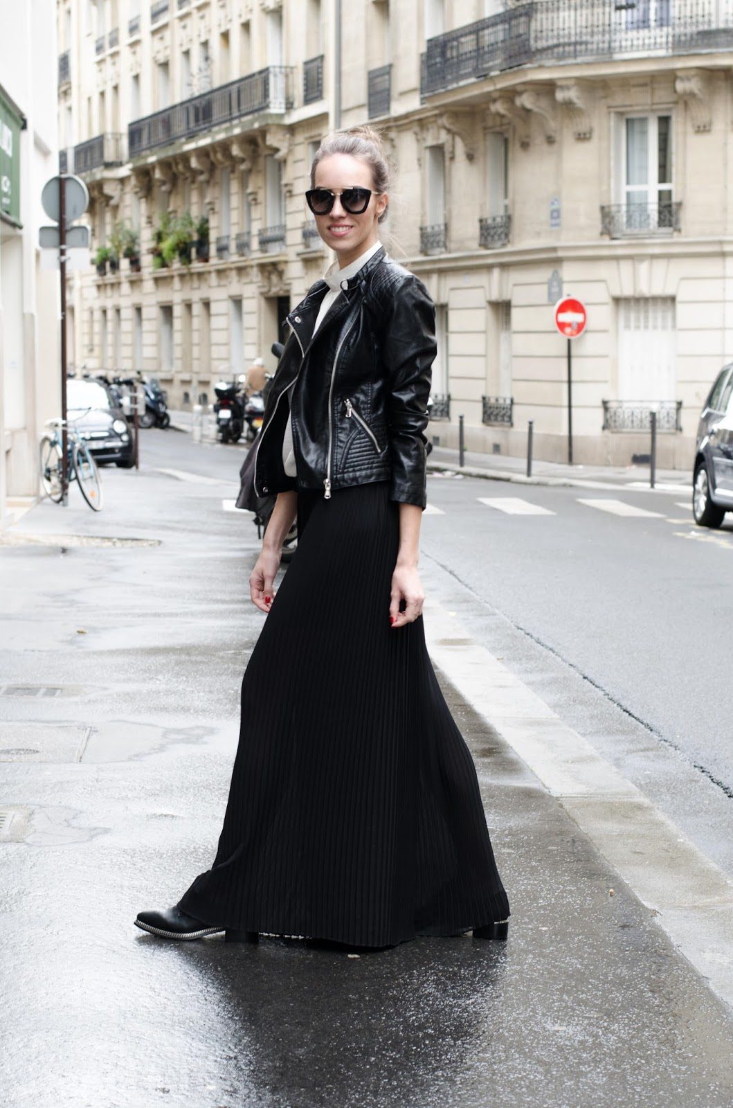 kristjaana mere pleated trousers leather jacket paris spring