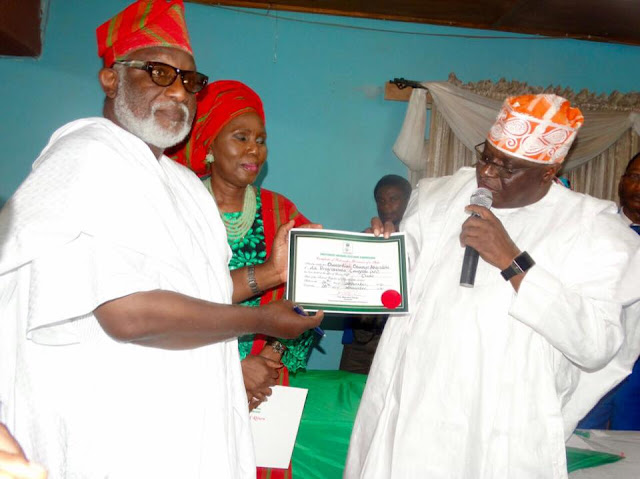 Image result for Akeredolu Receives His Certificate Of Return From INEC