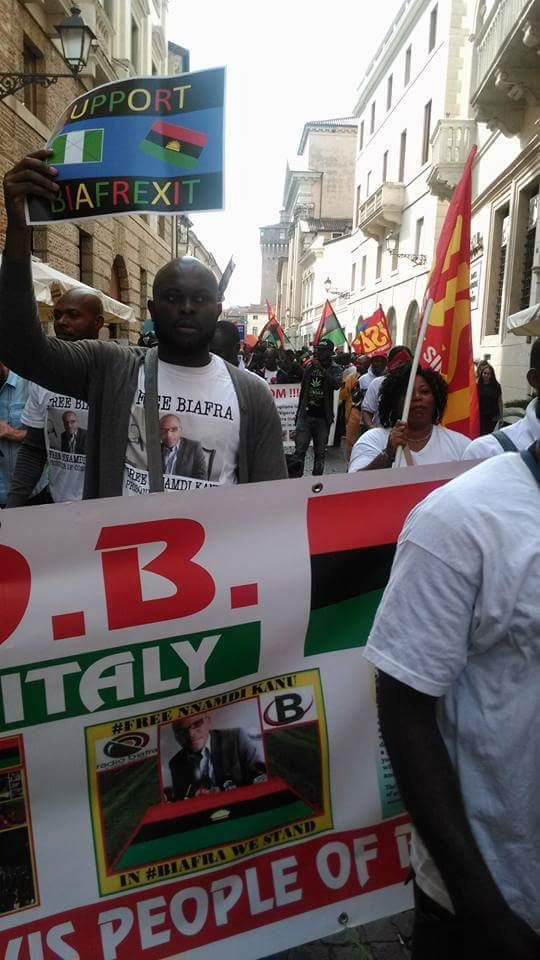 Biafrans protest in Italy on Nigerian Independence Day