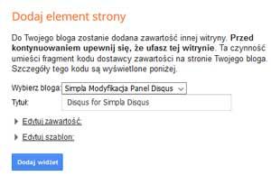 Dodawanie gadżetu komentarzy Disqus na blogspot