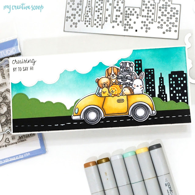 Sunny Studio Stamps: Cruising Critters, Cityscape Border & Fluffy Clouds Border Card with Video Tutorial by Mindy Baxter