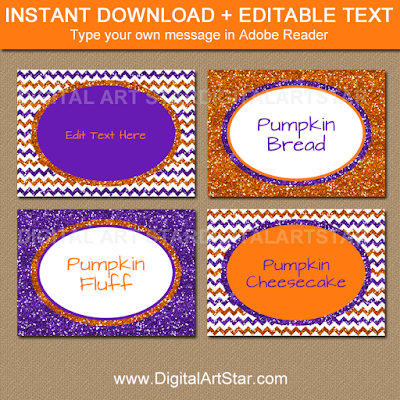 halloween place cards, candy buffet labels, tent cards, table tents, food labels