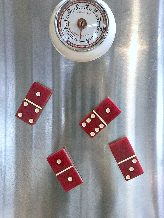 DIY Red Domino Refrigerator Magnets for the Kitchen