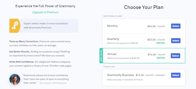 Grammarly pricing plan