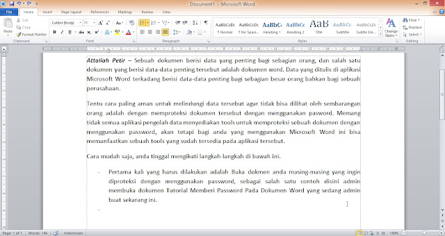 Tutorial Membuat Password Untuk Dokumen Word