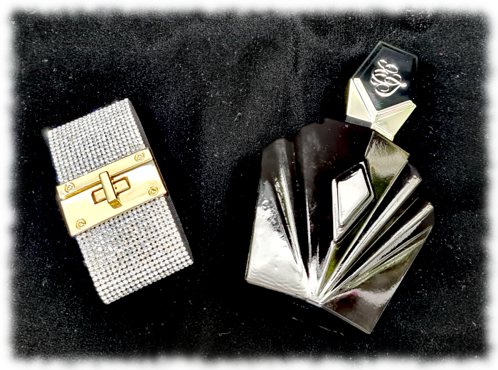 Flatlay of Passion bottle & diamante bracelet