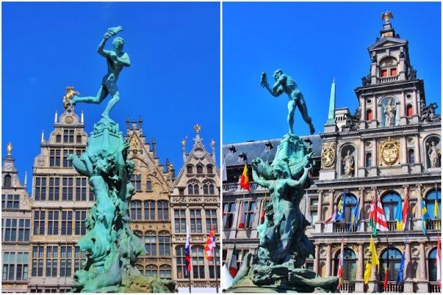Fuente del Brabo frente a casas típicas y Ayuntamiento de Amberes Antwerpen en Grote Markt