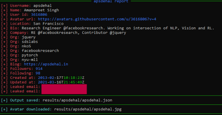 Gitrecon : OSINT Tool To Get Information From A Github Profile