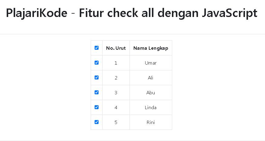 PlajariKode - Fitur check all dengan JavaScript
