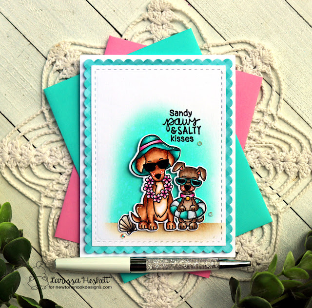 Sand Paws and Salty Kisses Card by Larissa Heskett for Newton's Nook Designs using Beach Barks and Frames & Flags