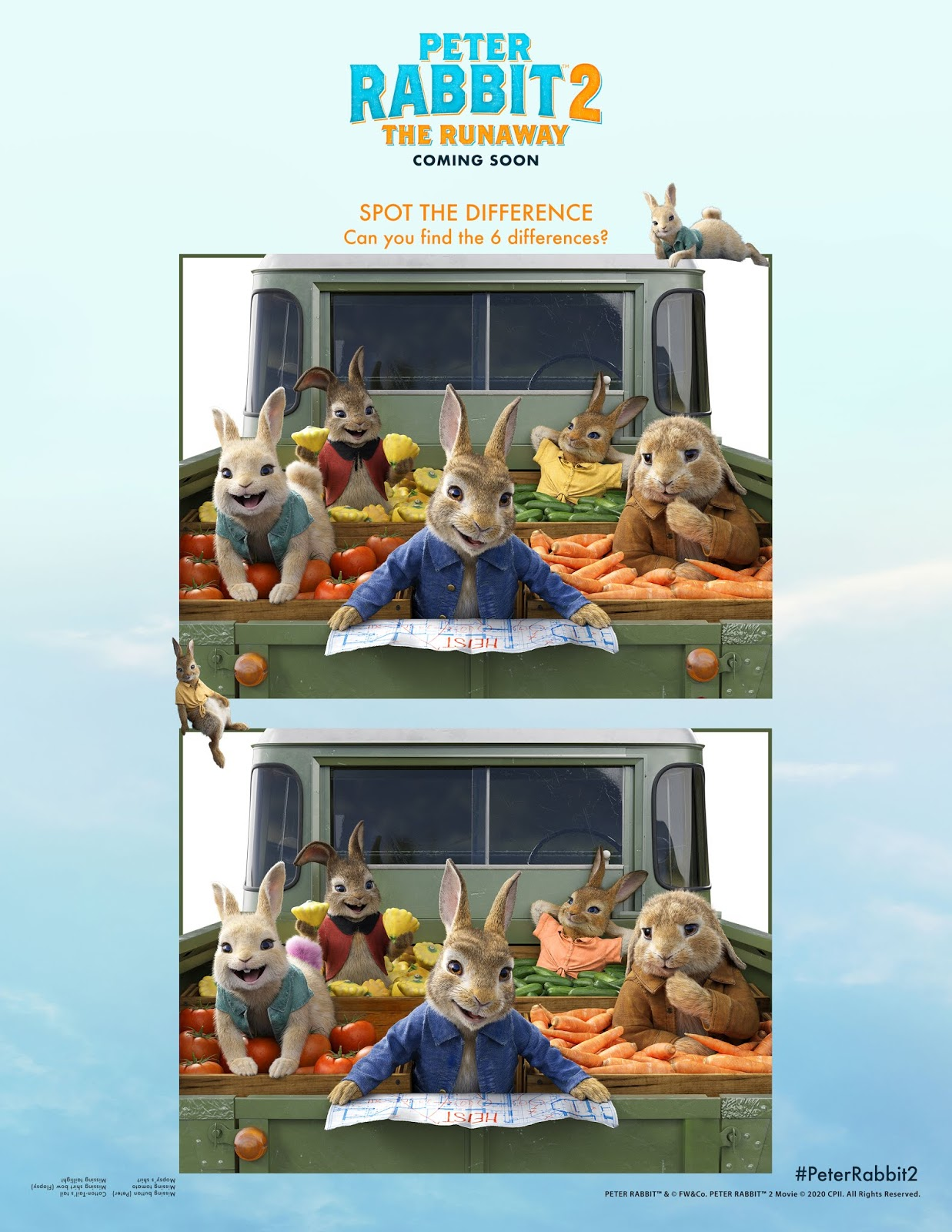 Peter Rabbit 2 Spot the Difference Activity Sheet