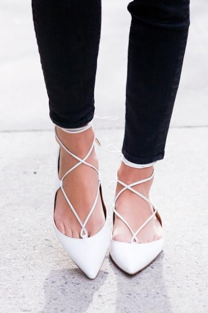 Arielle Something Navy - White Aquazzura Lace Up Christy Flats