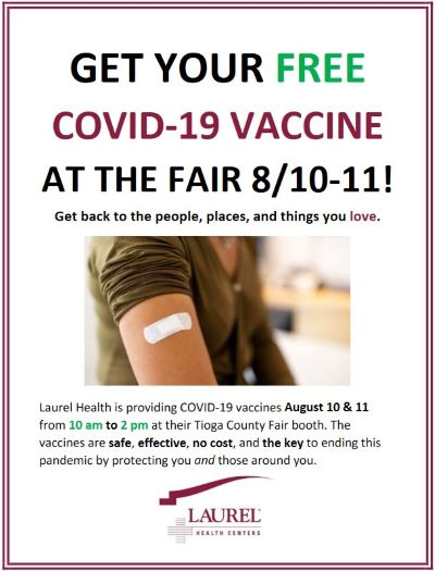 8-10/11 Free Covid-19 Shots @ Tioga County Fair