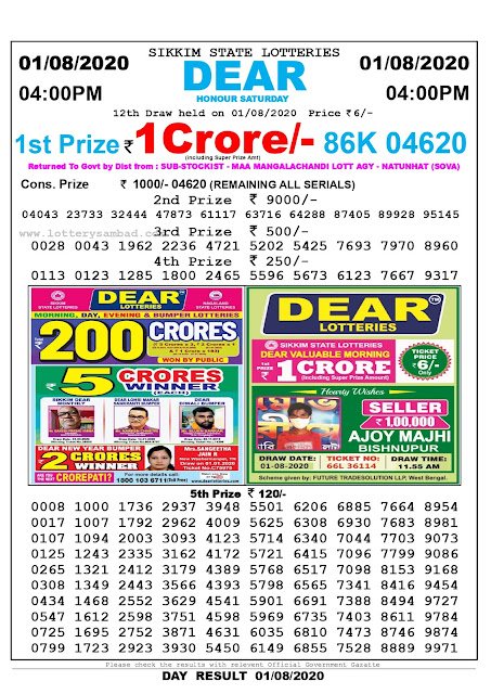 Lottery Sambad Result 01.08.2020 Dear Honour Saturday 4:00 pm