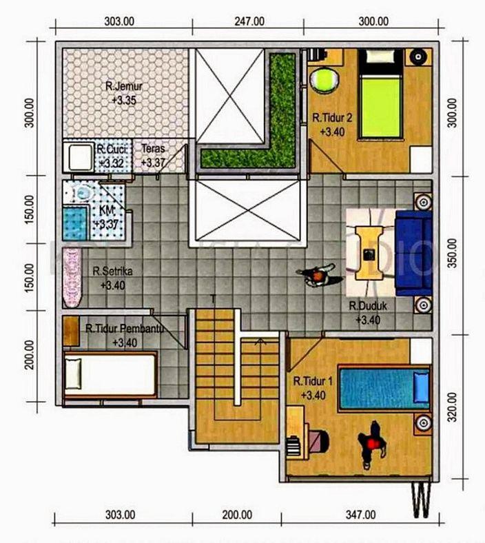 denah rumah luas tanah 400m yang minimalis