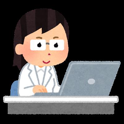 パソコンを使って働く白衣の人のイラスト(女性)